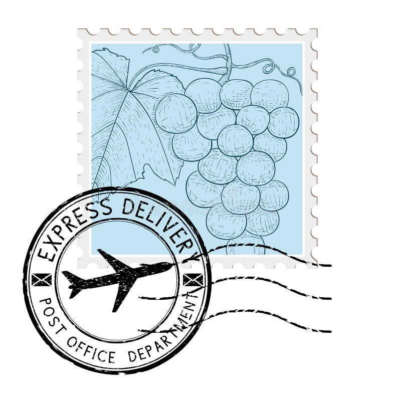 Poststempel mit Trauben und rundem Poststempel vektor abbildung
