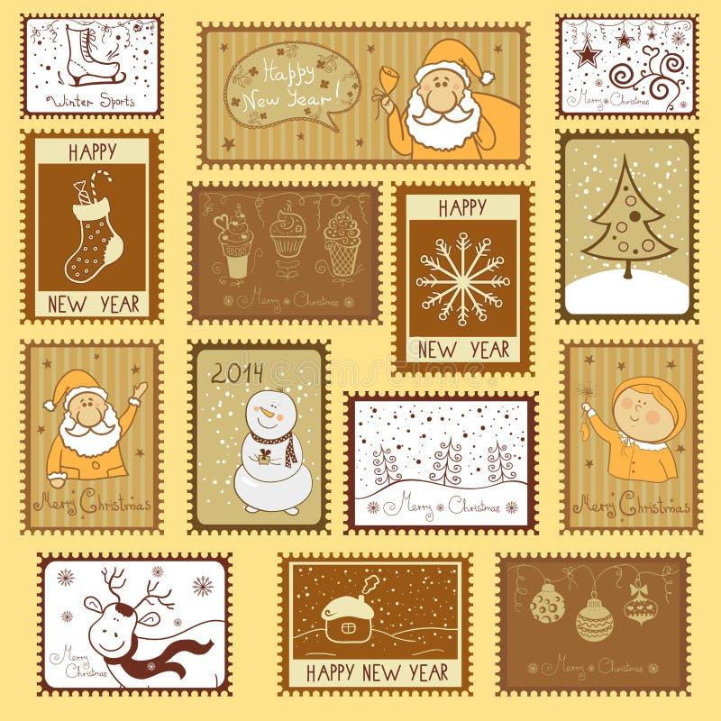 Poststempel mit Weihnachtsillustration lizenzfreie abbildung