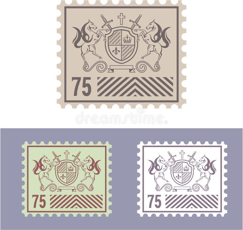 Poststempel mit Weinlese-königlichem Logo des Schildes und der Pferde lizenzfreie abbildung