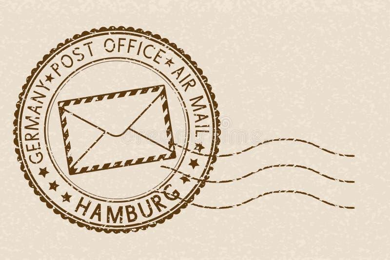 poststempel Runder brauner Stempel auf beige Hintergrund Hamburg, Deutschland vektor abbildung