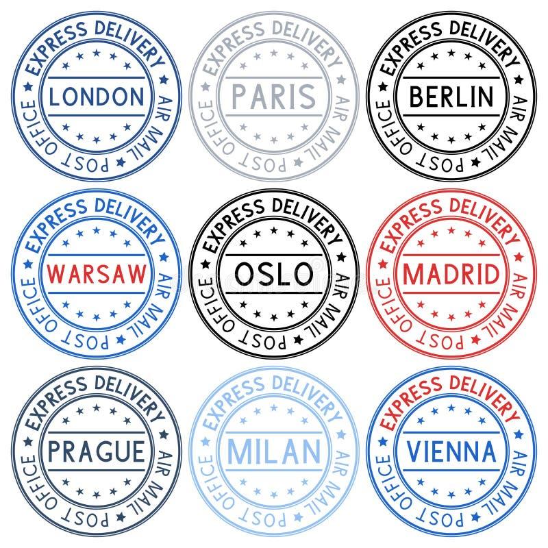 poststempel Sammlung Tintenstempel mit europäischen Städten stock abbildung