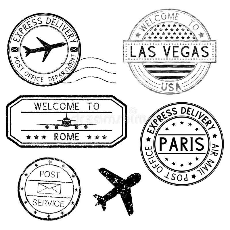 Poststempel und Reisestempel, flaches Symbol stock abbildung