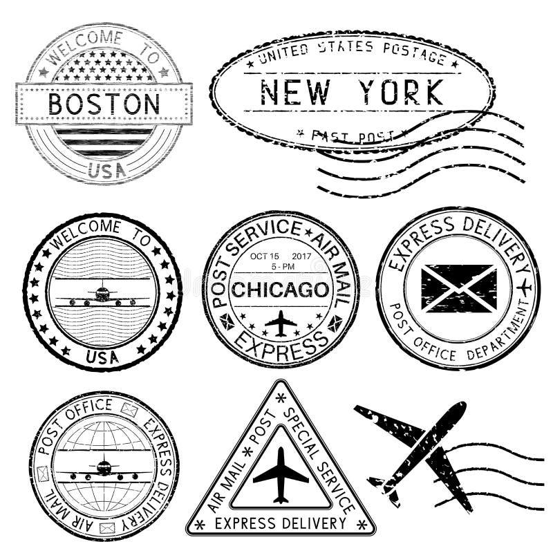 Poststempel und Reisestempel USA-Städte vektor abbildung