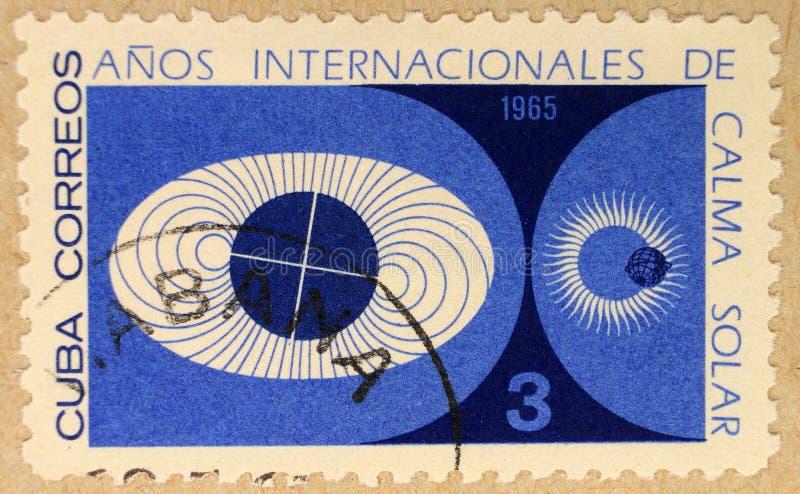 Poststempel von Kuba, eingeweiht dem Jahr des ruhigen Sun stockfoto