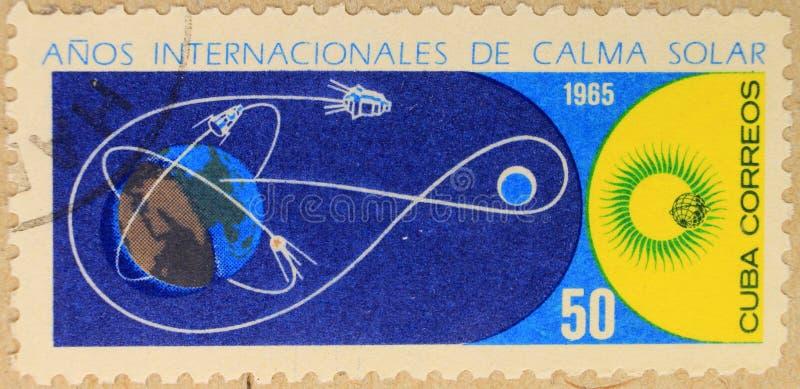 Poststempel von Kuba, eingeweiht dem Jahr des ruhigen Sun lizenzfreie stockfotos