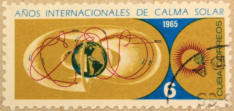 Poststempel von Kuba, eingeweiht dem Jahr des ruhigen Sun lizenzfreies stockbild