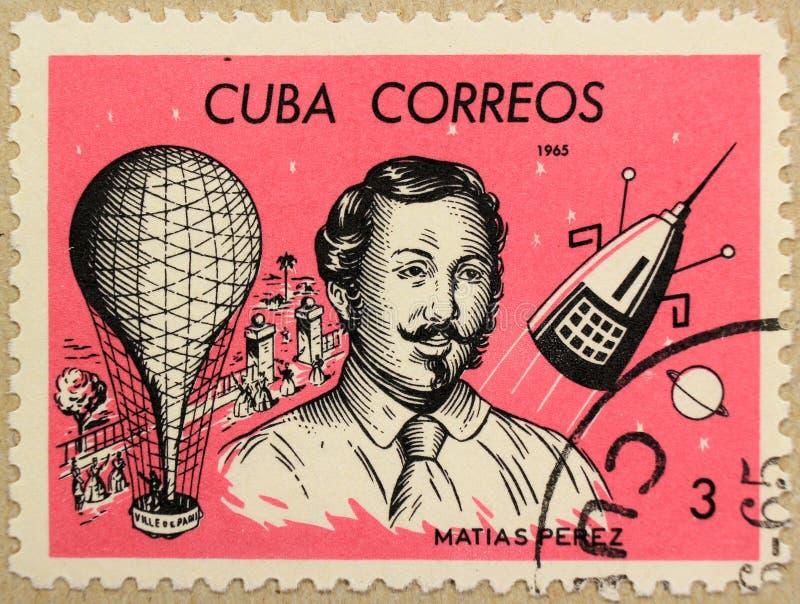 Poststempel von Kuba zeigt Matias Perez, einen kubanischen Ballonpiloten stockfotos