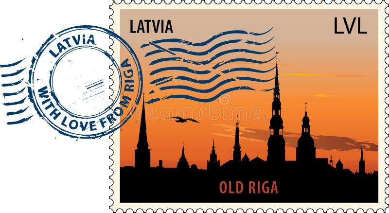 Poststempel von Lettland stock abbildung
