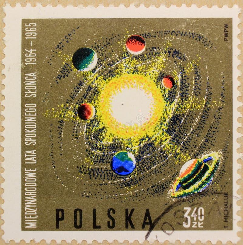 Poststempel von Polen, eingeweiht dem Jahr des ruhigen Sun lizenzfreie stockfotografie
