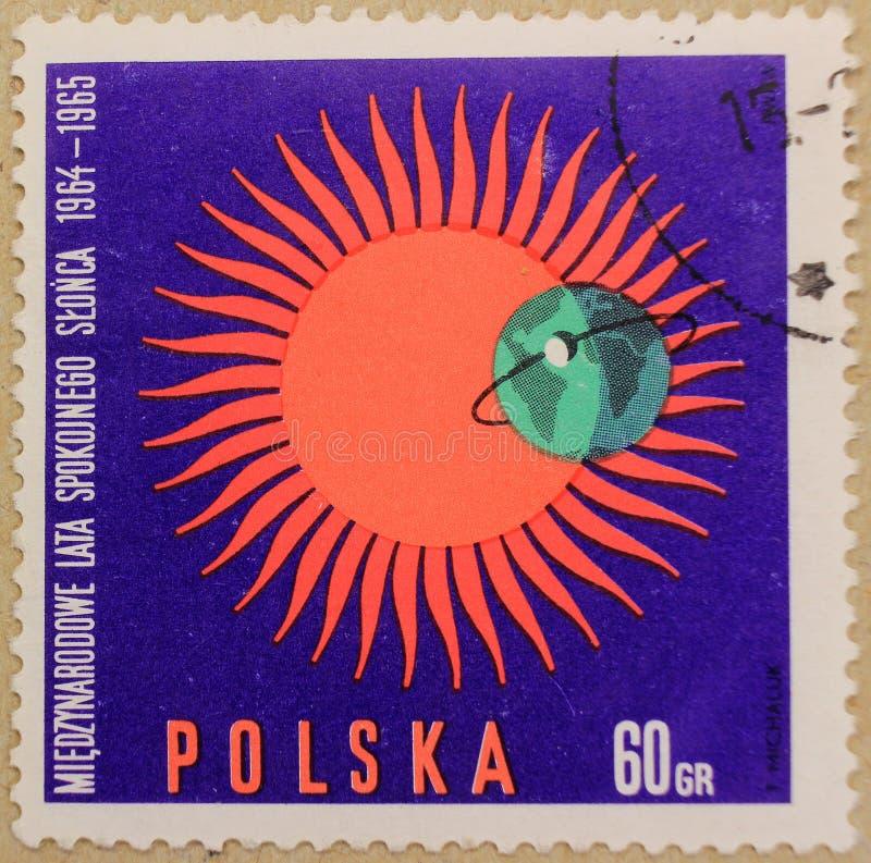Poststempel von Polen, eingeweiht dem Jahr des ruhigen Sun lizenzfreie stockfotos