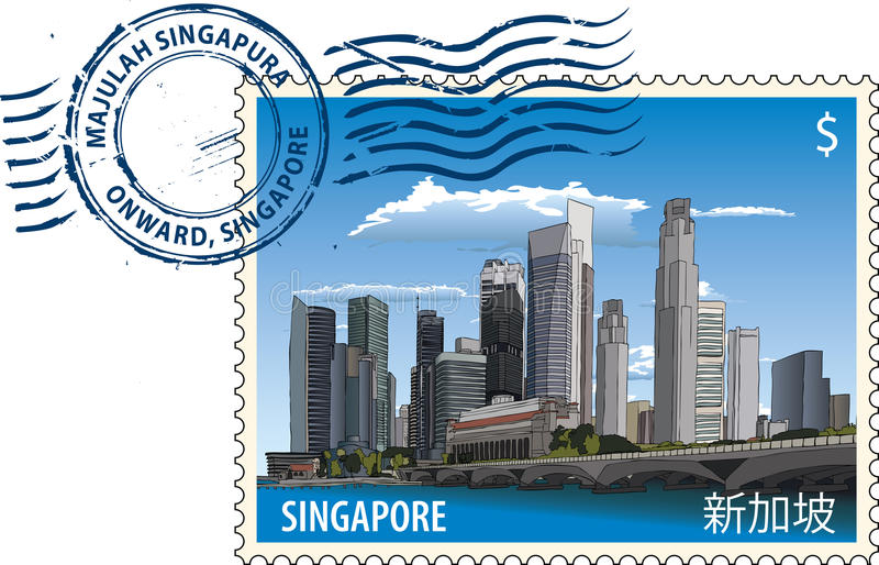 Poststempel von Singapur stock abbildung
