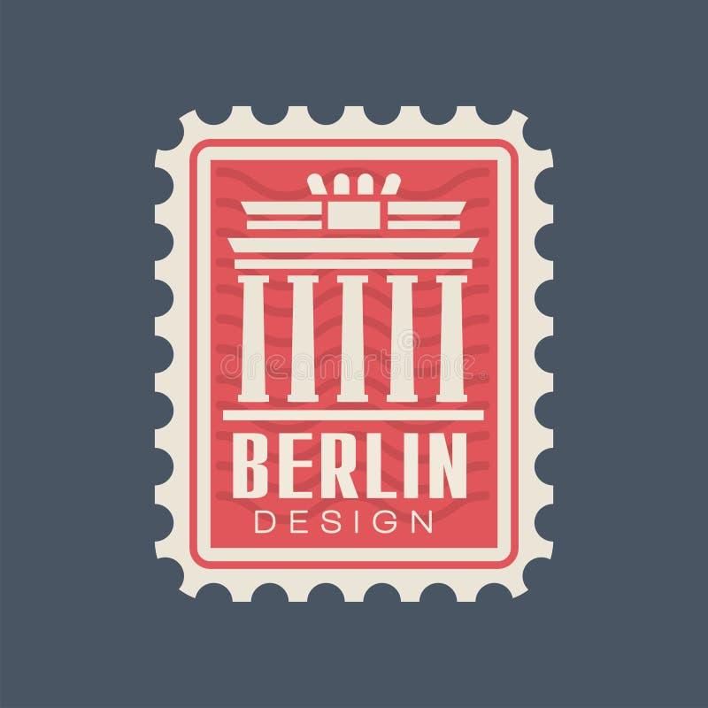 Poststempelzegel van Duitsland met de Poortsilhouet van Brandenburg Beroemd architecturaal monument van Berlijn reis concept royalty-vrije illustratie