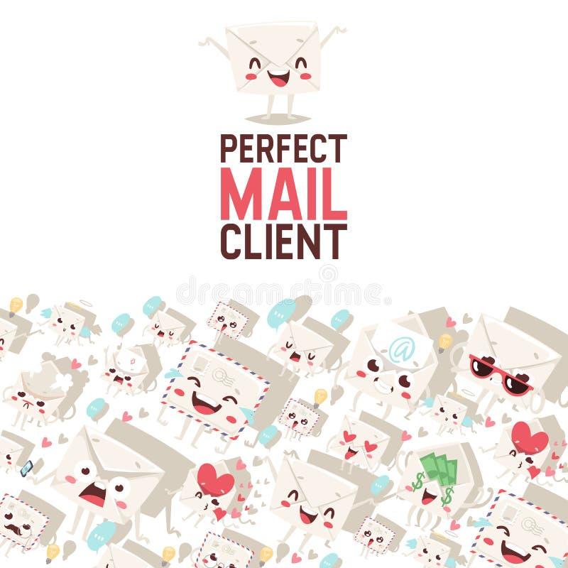 Postumschlagvektor verschickte Posten Emoticon, der das reizende Mitteilungsbuchstabe kawaii E-Mail-Charakterhintergrundemailen v lizenzfreie abbildung