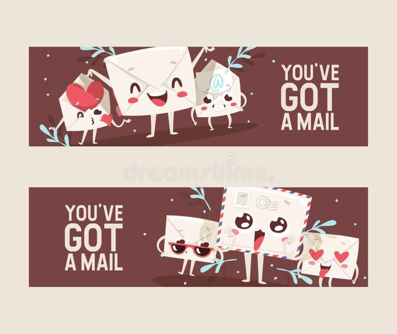 Postumschlagvektor verschickte Posten Emoticon, der reizende Mitteilungsbuchstabe kawaii E-Mail-Charakterhintergrundillustration  stock abbildung