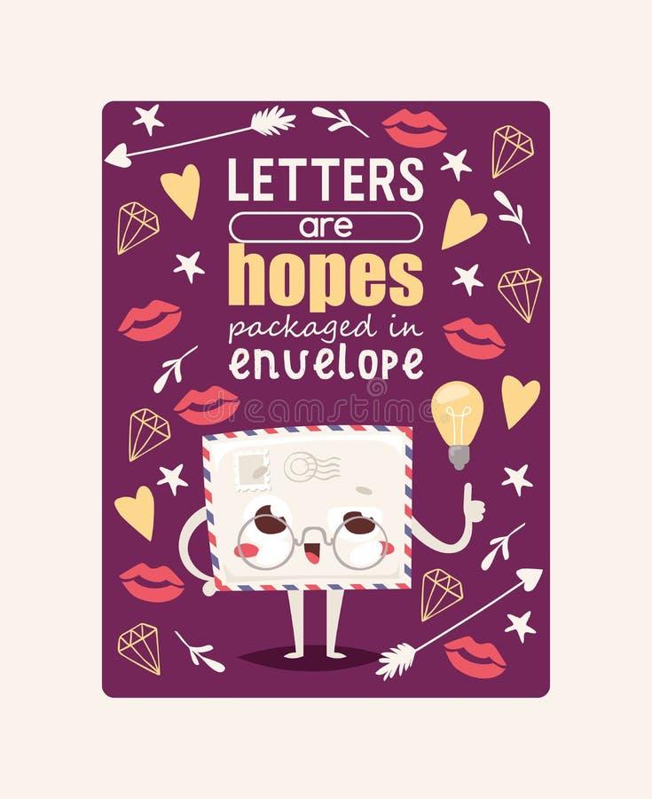 Postumschlagvektor verschickte Posten Emoticon, der reizenden Mitteilungsbuchstabe kawaii E-Mail-Charakter mit Lippenherzstern ve stock abbildung