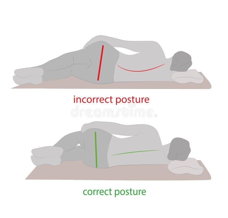 Postura correta durante o sono Ilustração do vetor ilustração royalty free