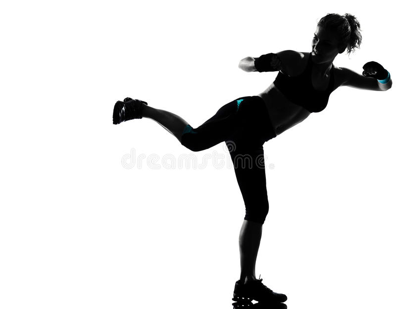 Postura da aptidão do exercício da mulher foto de stock