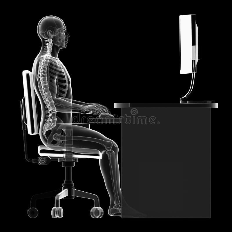 Postura de assento correta ilustração do vetor