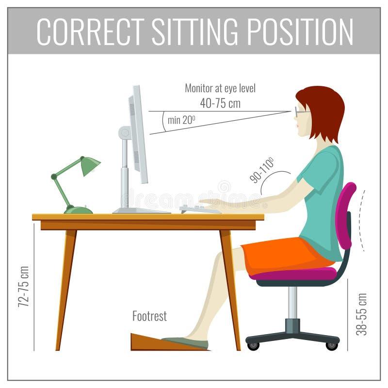 Postura de assento correta da espinha no conceito do vetor da prevenção da saúde do computador ilustração royalty free
