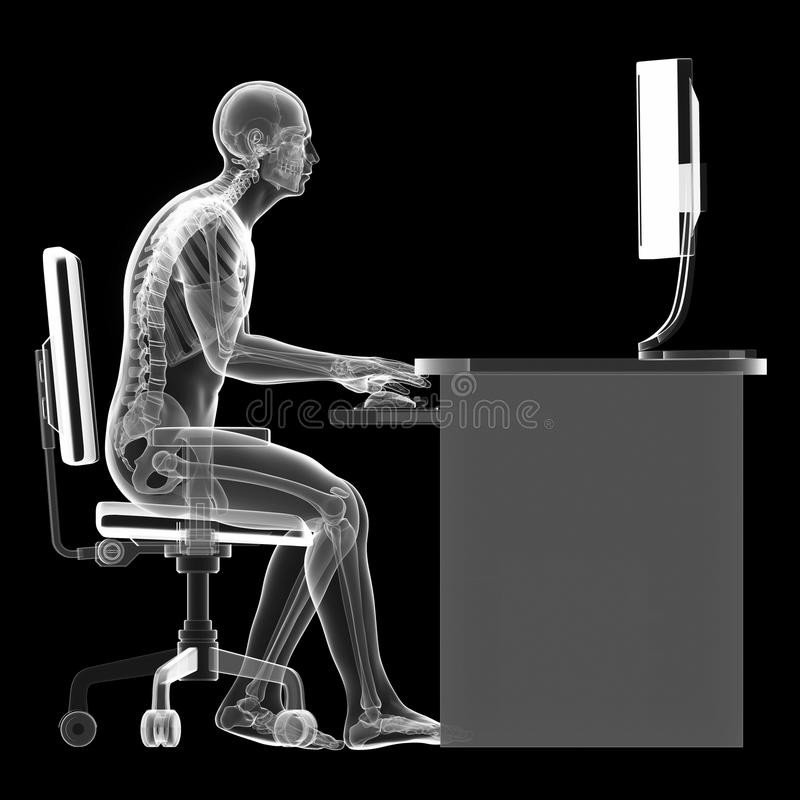 Postura de assento errada ilustração royalty free