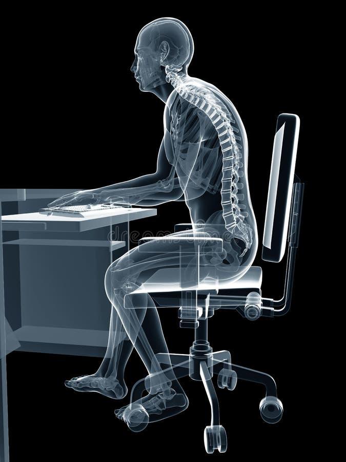 Postura de assento errada ilustração stock