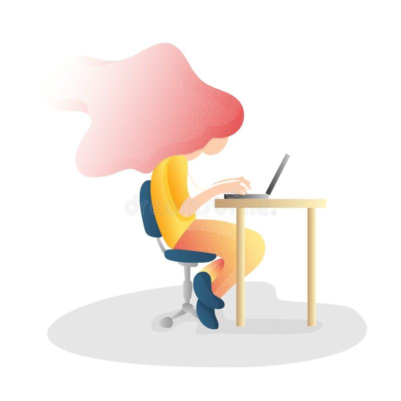 Postura de la espina dorsal del inorrect que se sienta ergonómico, incorrecto r Postura del escritorio de oficina stock de ilustración