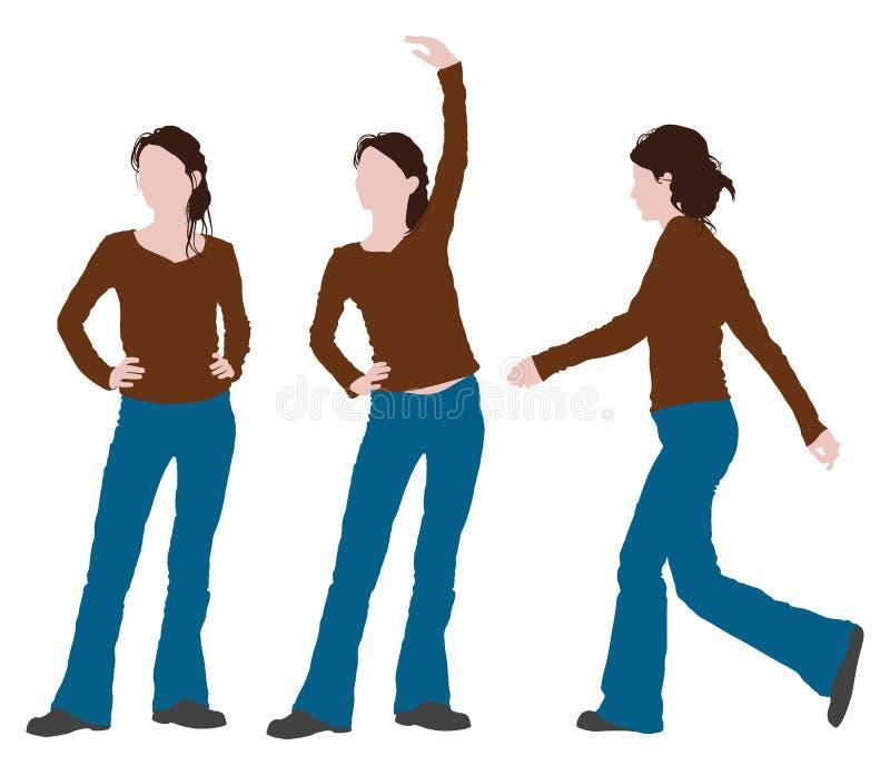 Postura de la mujer stock de ilustración
