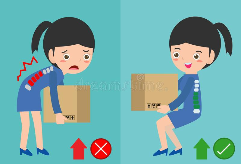 A postura de levantamento correta e as mulheres incorretas levantam a posição errada e direita Corrija e postura incorreta quando ilustração do vetor