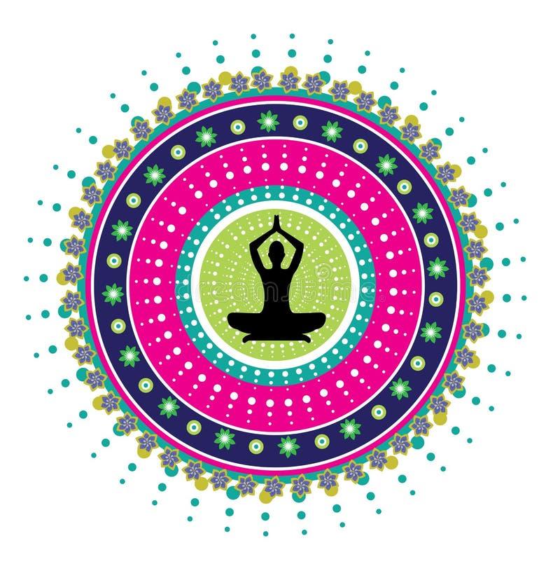 Postura del loto de la yoga ilustración del vector