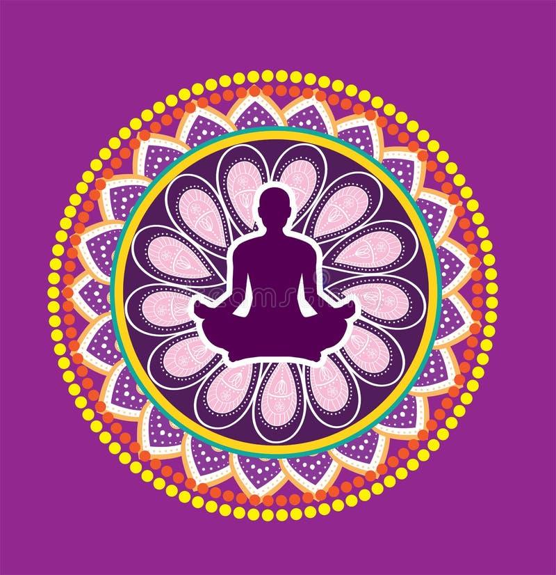 Postura del loto de la yoga stock de ilustración