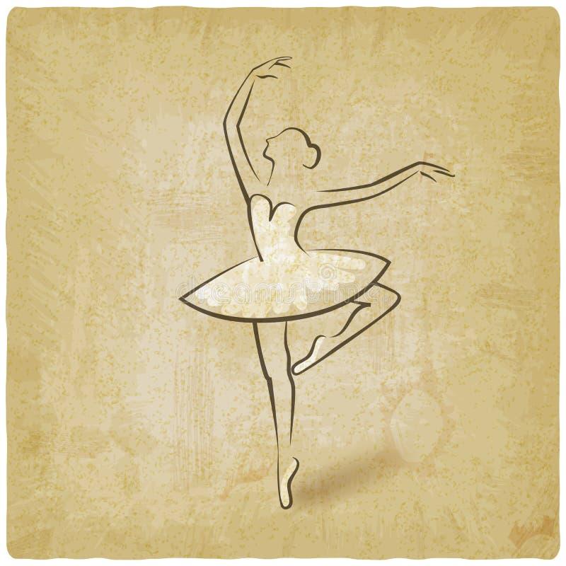 Postura do bailado do esboço fundo do vintage do símbolo do estúdio da dança ilustração royalty free