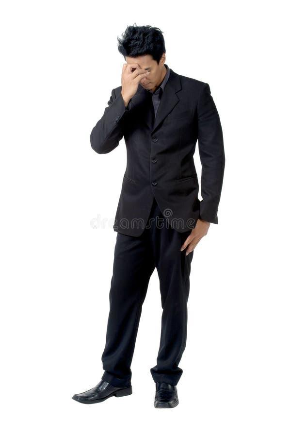 Postura do sinal do homem de negócio desapontado fotografia de stock