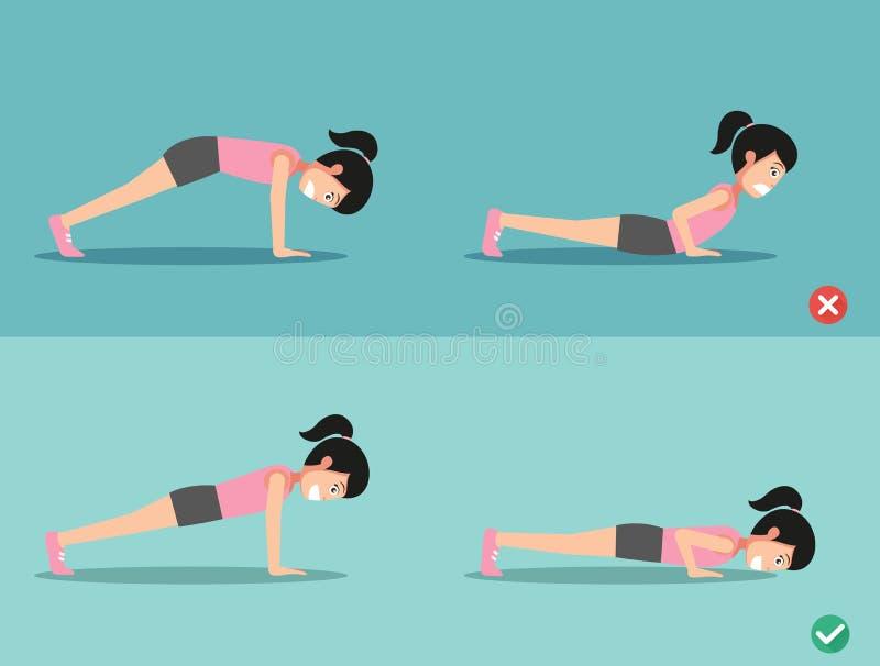 Postura errada e direita da flexão de braço, vetor ilustração stock