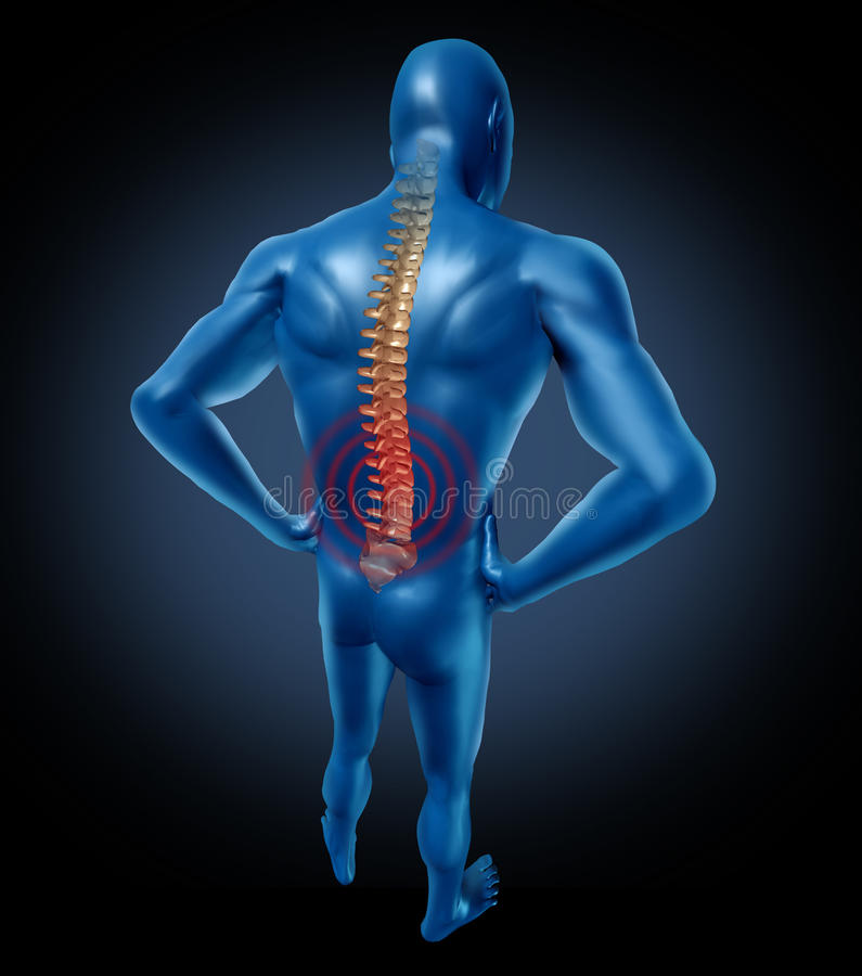 Postura humana de la espina dorsal del dolor de espalda stock de ilustración