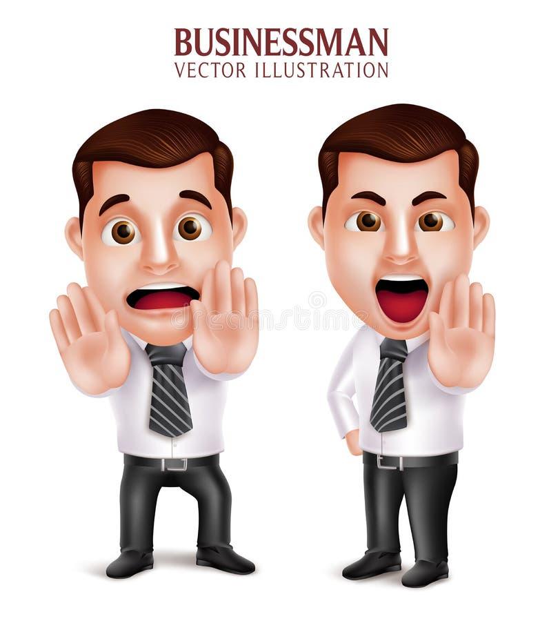 Postura irritada e receosa do caráter profissional realístico do homem de negócio ilustração royalty free