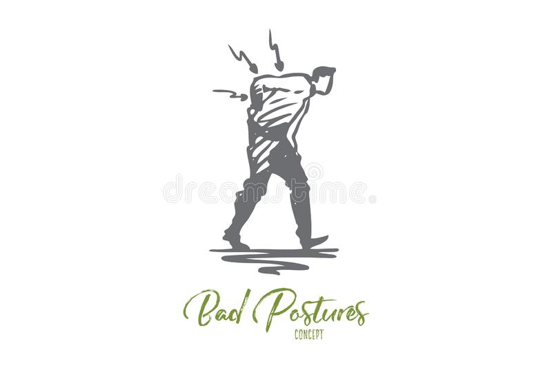 Postura, malo, espina dorsal, dolor, parte posterior, concepto del problema Vector aislado dibujado mano ilustración del vector
