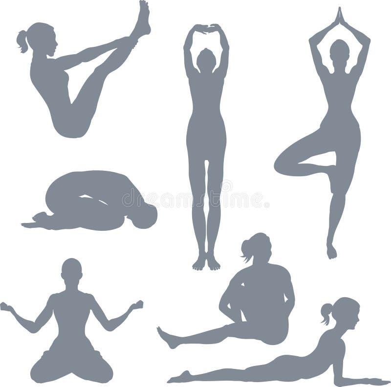 Posturas de la yoga stock de ilustración