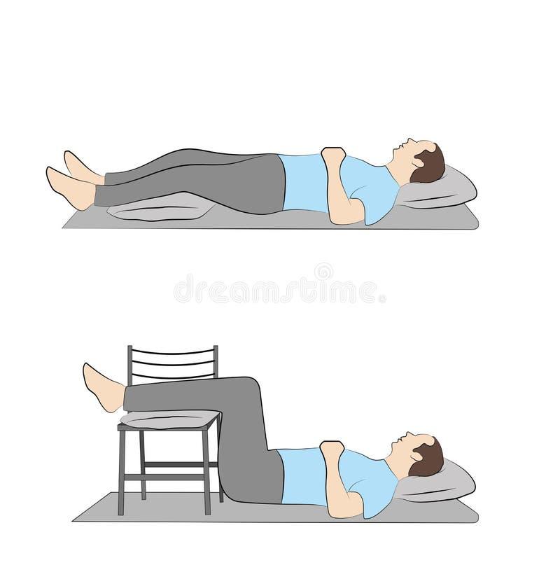 Posturas de mentira para las piernas relajantes ejercicios para la relajación de las piernas Ilustración del vector ilustración del vector