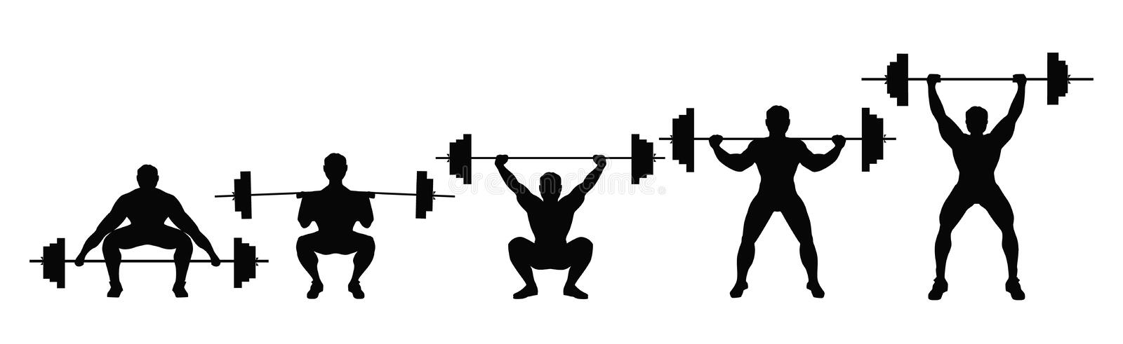 Posture accroupie avec le barbell illustration de vecteur