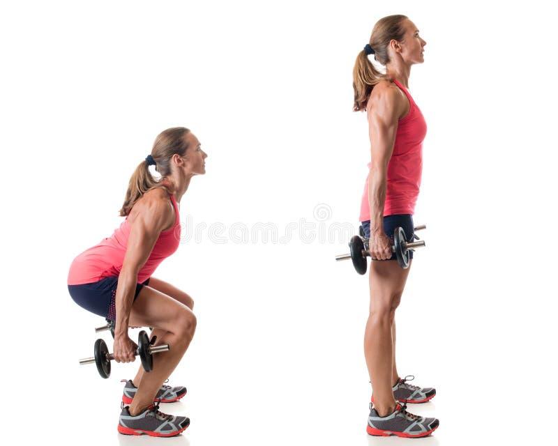 Posture accroupie d'haltère photos stock