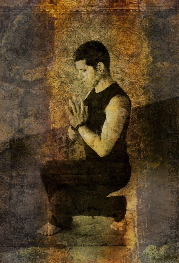 Posture accroupie de prière illustration libre de droits