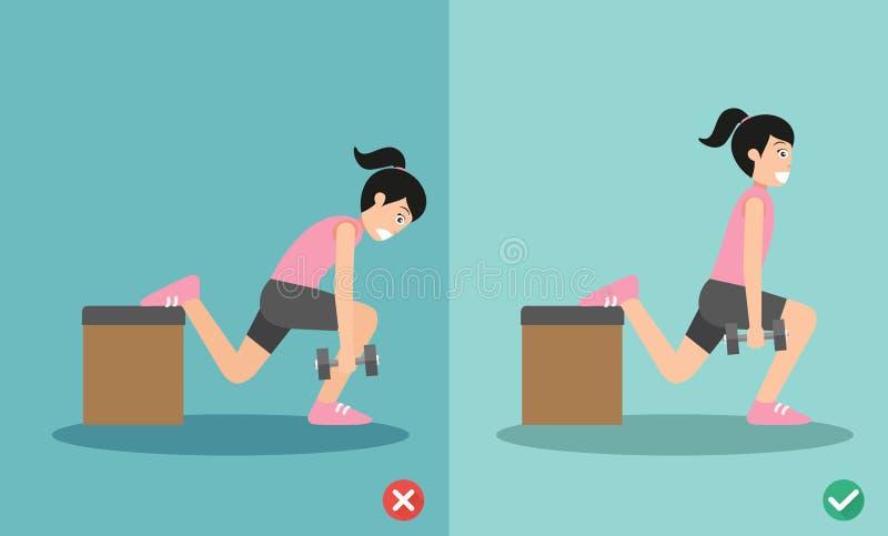 Posture accroupie fausse et bonne de femme d'haltère d'un-jambe de fente illustration stock