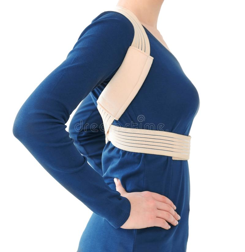 Posture concept. Woman wearing corset royalty free stock images