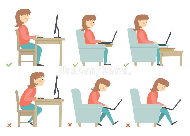 Posture correcte et incorrecte d'activités dans la routine quotidienne - se reposant et travaillant avec un ordinateur Caractère  illustration stock