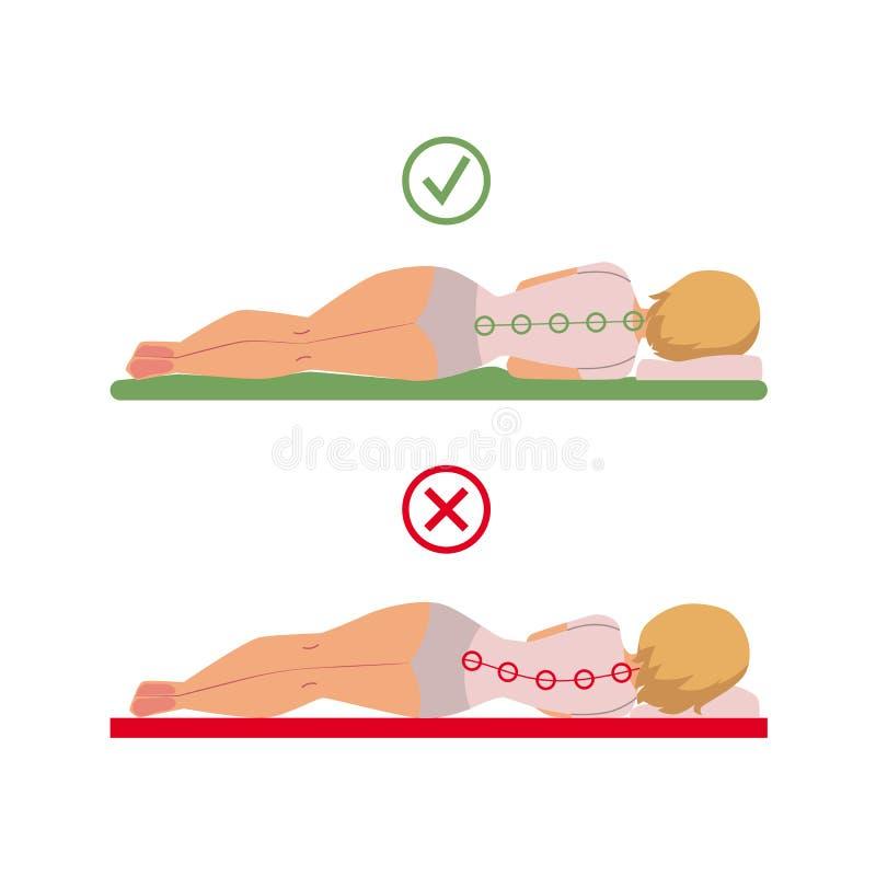 Posture correcte incorrecte de sommeil de vecteur de femme illustration stock