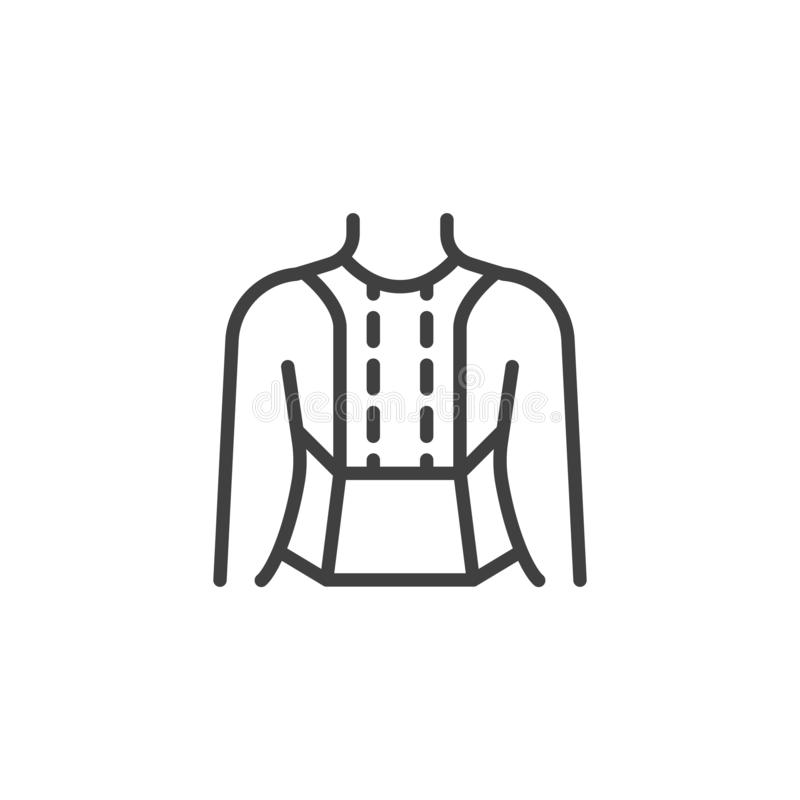 Posture Corrector line icon. Linear style sign for mobile concept and web design. Orthopedic Lumbar Brace outline vector icon. Symbol, logo illustration vector illustration