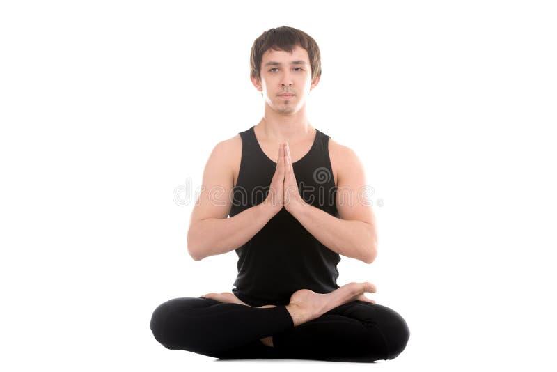 Posture de Lotus avec des paumes dans le namaste photographie stock libre de droits
