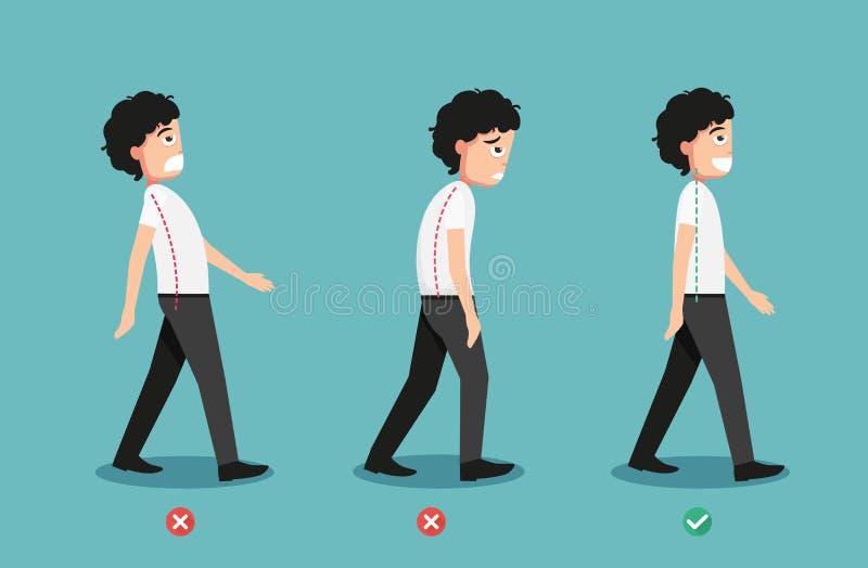 Posture de marche fausse et correcte illustration libre de droits