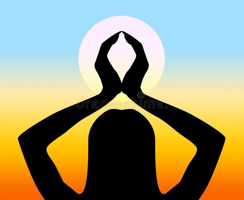Posture et sentiment de sensation d'expositions de pose de yoga illustration libre de droits
