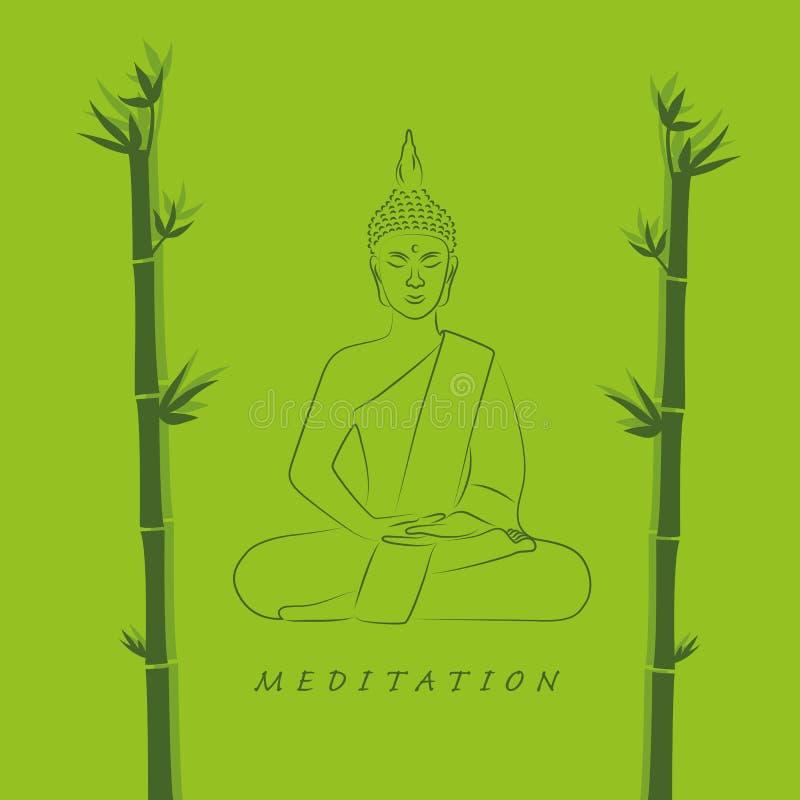 Posture méditante de Bouddha dans la couleur verte en position de lotus avec le bambou illustration libre de droits